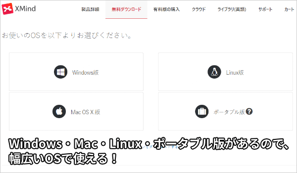 Windows・Mac・Linux・ポータブル版があるので、幅広いOSで使える!