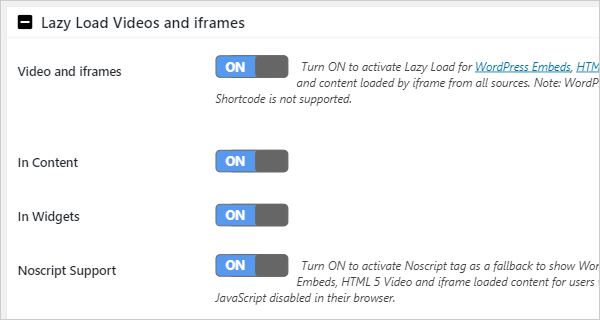 Lazy Load Videos and iframes