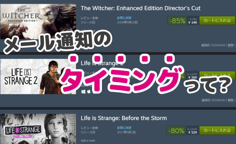 【Steam】ウィッシュリスト内のゲームが通知される3つのタイミング