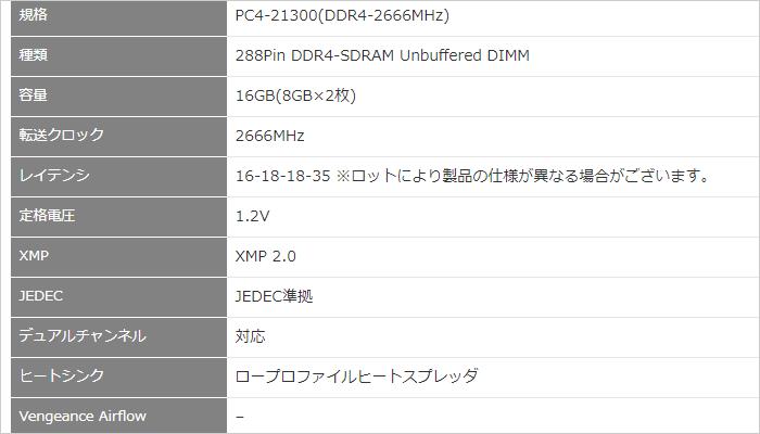 CMK16GX4M2A2666C16 スペック