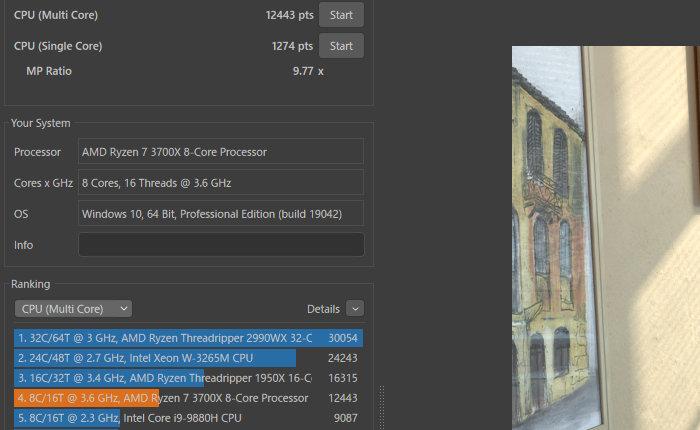 CinebenchでRyzen 7 3700Xを計測