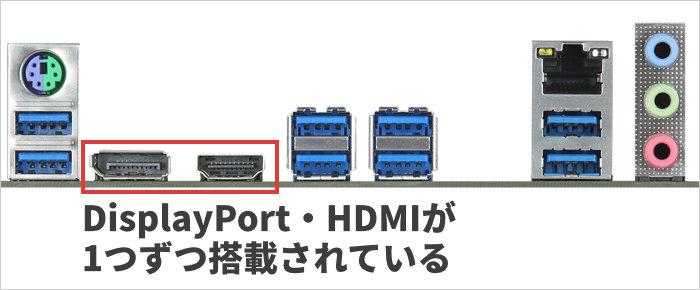 DisplayPort・HDMIが1つずつ搭載されている