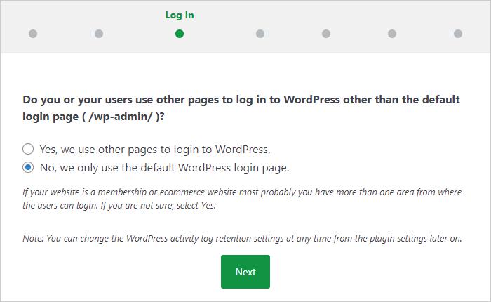 どのログインページを使用しているのか選択する