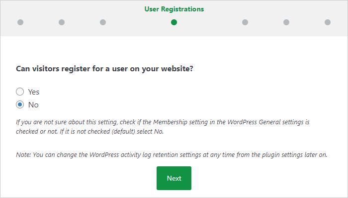 サイトの訪問者がユーザー登録できるのか選択する