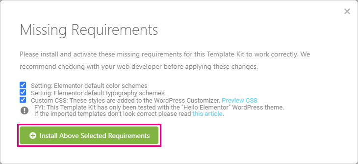 「Install Above Selected Requirements」をクリック