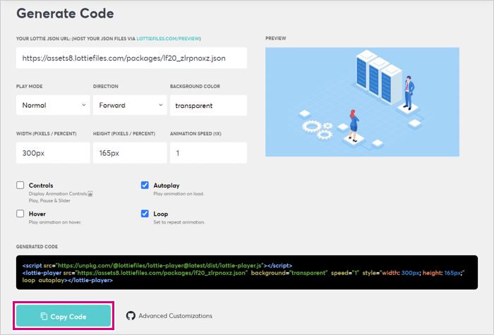 「Copy Code」をクリック